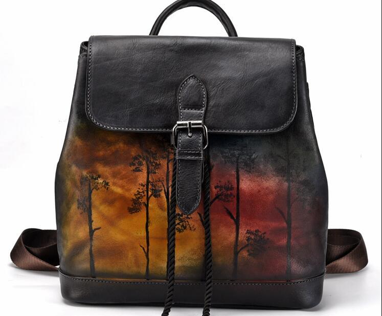 Couro genuíno colorido pequena corda macia backpack school bolsas