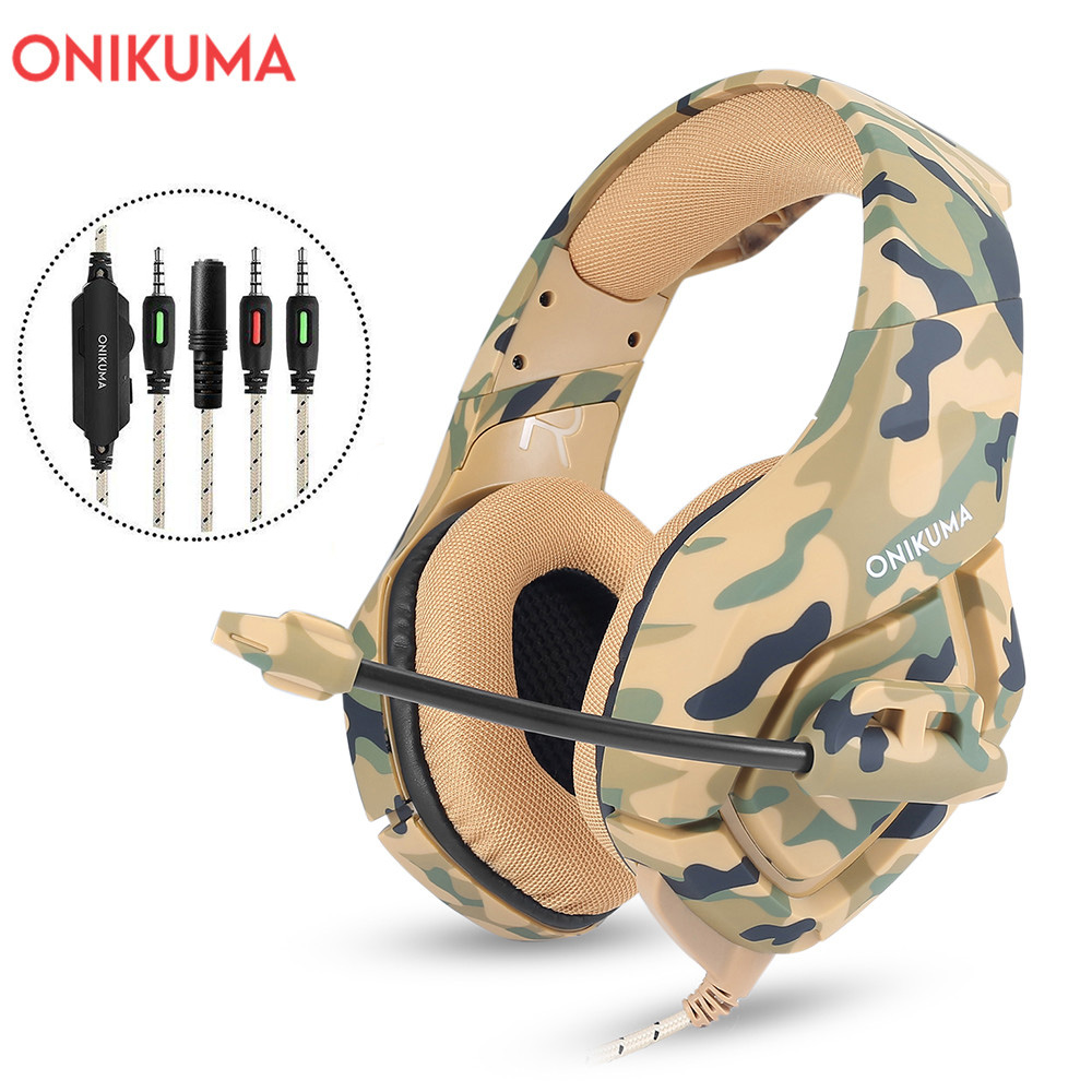 ONIKUMA K1 Camouflage Gaming Headset Dee Bass Game Headphones PS4 Earphones with Mic fro PC Moblie Phone New Xbox Tablet часы круглые из пластика printio pink roses