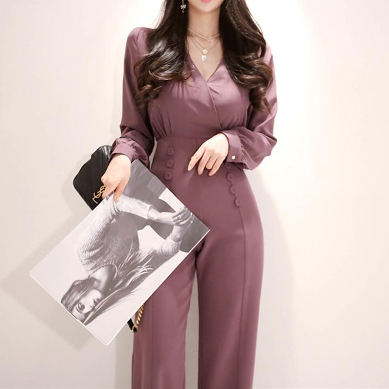 Fashion V-neck Full Sleeve Women Jumpsuit Elegant Female Work Business Loose Pant Jumpsuits Slim Waist Long Playsuit 2019