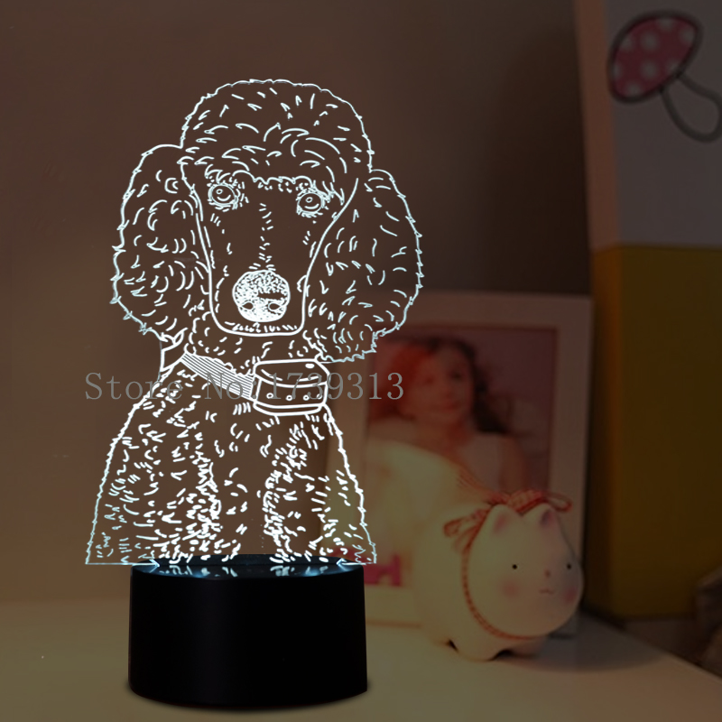 Novelty Poodle 3D Children's Lamp LED USB Night Lights 3D Dog LED Lighting 3d led lamp usb night love heart