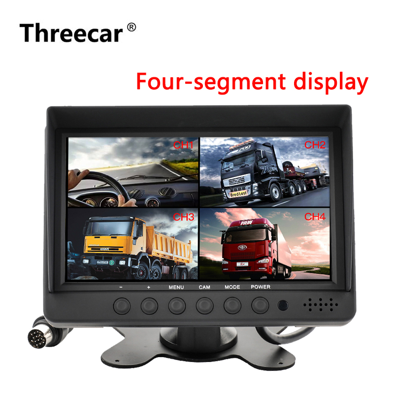 7 Dual Display Built in Quad Combination LCD Car Monitor 4CH Video Input Style Parking Dashboard for Truck Car Rear View Camera car rear view system 7inch tft colour quad 4ch video input car monitor for reverseing cctv car camera monitor