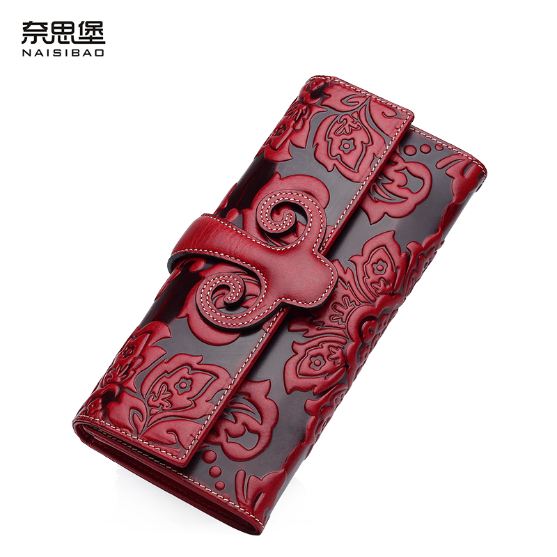 High-quality Chinese style Retro Genuine Leather name brand purses fashion women Clutch Wallet Free shipping
