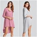 Venda quente 2017 mulheres assimétrica solto longo t shirt dress algodão boho estilo 3/4 manga alta baixo dress plus size vestidos de verão