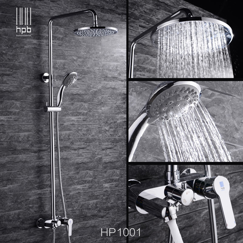 HBP Chrome Brass Bathroom Shower Set Rain Fall 8 inch Shower Head Exposed Bath Mixer Tap Tub Faucet torneira banheiro HP1001