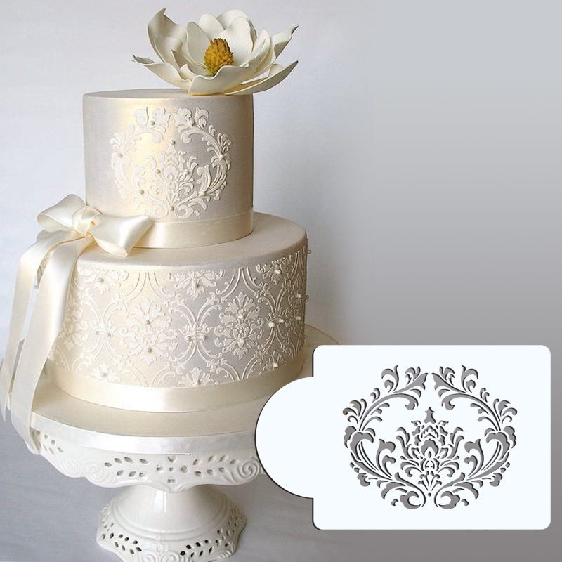 "3.75 ""H x 4.6"" W Filigrana Damasco Stencil Cake Set Cake Side Design Stencil Cake Border Stencils Set para hornear ST-264"