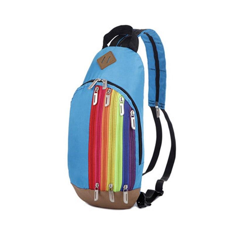 2016 Nylon Rainbow Pattern Chest Bags Casual 2 in 1 Functional Shoulder Bag Backpack Belt Bag