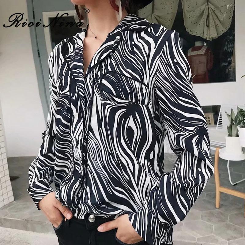 Revers Noir Chemises Ricinina Femme Décontracté Femmes Et 2018 Hauts Vintage Zabra Blouse Robe Automne Manches Longues AATqwZ