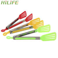 HILIFE Salad Serving BBQ Tongs Non-Stick Kitchen Tongs Silicone Pizza Bread Steak Clip Stainless Steel Handle Utensil