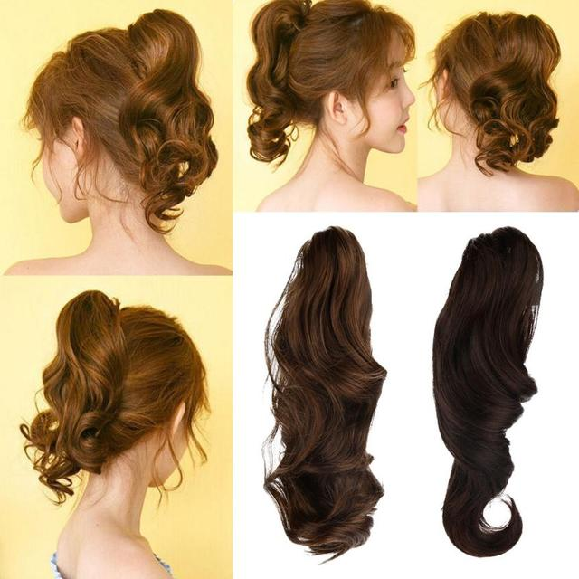 Aliexpress Buy Womens Claw Thick Wavy Curly Short Ponytail