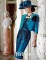 Royal Blue Tafetán madre de Vestido de Novia de la Rodilla con Apliques Sin Tirantes con la Chaqueta de Media Manga Bodycon del Partido de Tarde vestido