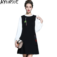 AYUNSUE 2019 New Spring Women's Dress Casual Embroidery Dress Female Mini vestidos Plus size Dresses For Women 4XL 5XL WYQ1063