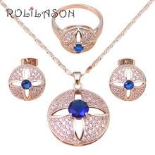 RILILASON Marca de joyería de plata Collares y Colgantes Pendientes Conjunto Azul Circón joyería de Moda Anillo sz #6 #7.5 #7 #8 JS544