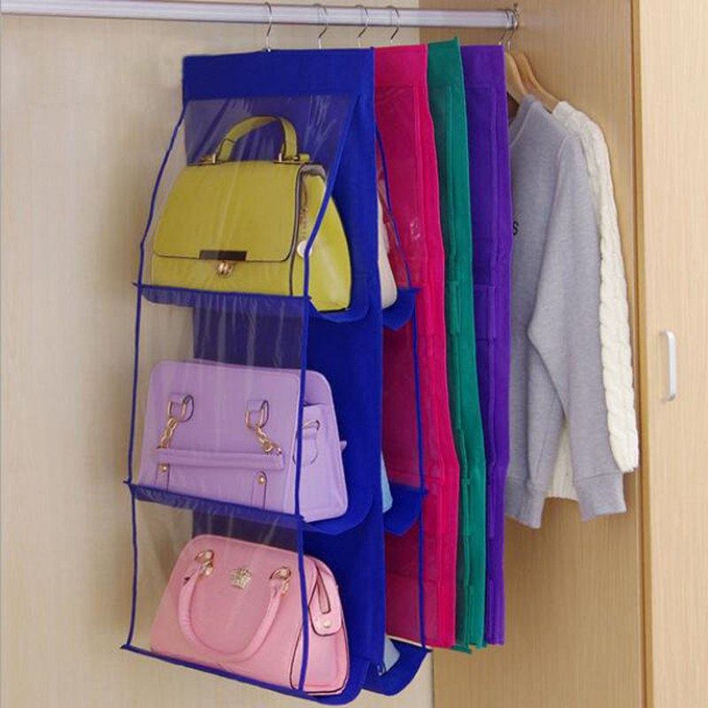 Travel Accessories Fashion Double Side Transparent 6 Pocket Packing Organizer Foldable Hanging Handbag Hangers Bag Multicolor