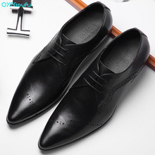 QYFCIOUFU British Style Pointed Toe Genuine Leather Shoes Men Carved Formal Shoes Dreathable Groom Wedding Lace-up Dress Shoes недорого