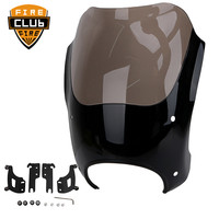 for Harley Touring Road King Custom Classic FLHRC Smoke Windshield Headlight Fairing Shades Bullet with Trigger Lock Mount Kit