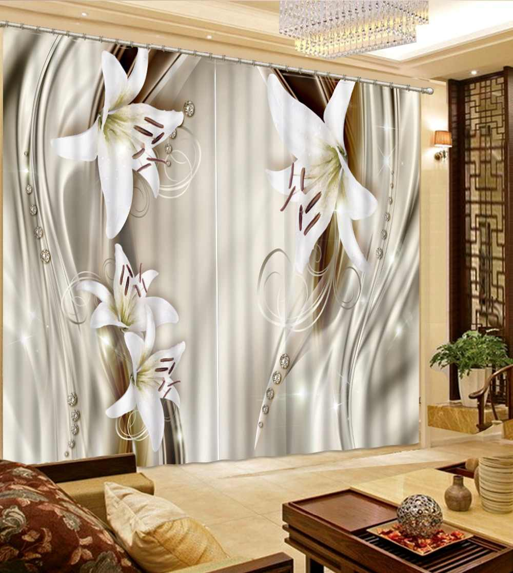 Fashion Window Curtain Luxury Curtains For Living room Bedroom beautiful flower 3D Blackout Sheer Curtains