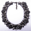 XG076 New Arrival 2015 High Quality Vintage Statement Necklace Chunky Crystal Necklace Silver Chain Choker Wholesale For Women