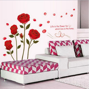 Image 3 - 1Pcs/lot Hot Sale 120x75cm Removable Red Rose Life Is The Flower Quote Wall Sticker Mural For DIY Decal Home Room Art Decoration