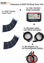 Solarparts 2x50W DIY RV/Boat Kits Solar System 1 x50W flexible solar panel 1x 10A solar controller 1 set 3M MC4 cable 1 set clip