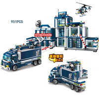 City super police Mobile headquarters 2in1 truck building block policeman Robber Prisoner figures helicopter motorcycle toys