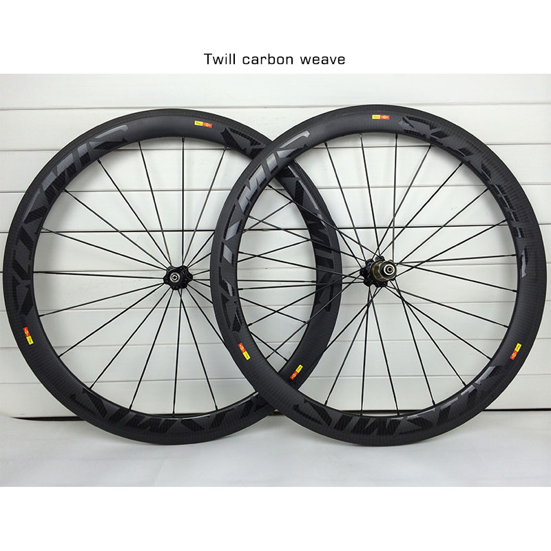 700C 50mm Carbon Road Wheels 23mm width Clincher Tubular 3K Twill Weave Road Bike Carbon Wheelset Bicycle Wheels Basalt Brake