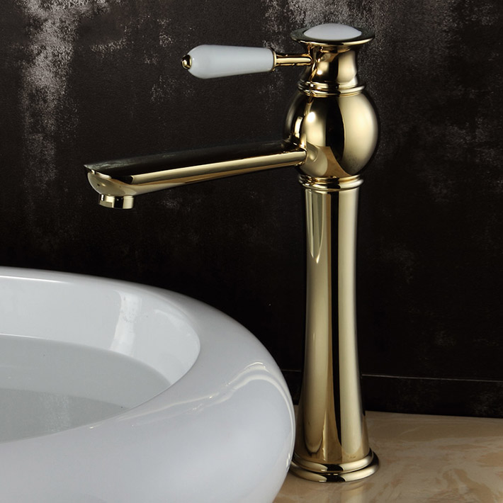 Robinet de lavabo plaqué or en laiton massif robinet d'eau robinet de salle de bain monotrou robinet en or torneira para banheiro