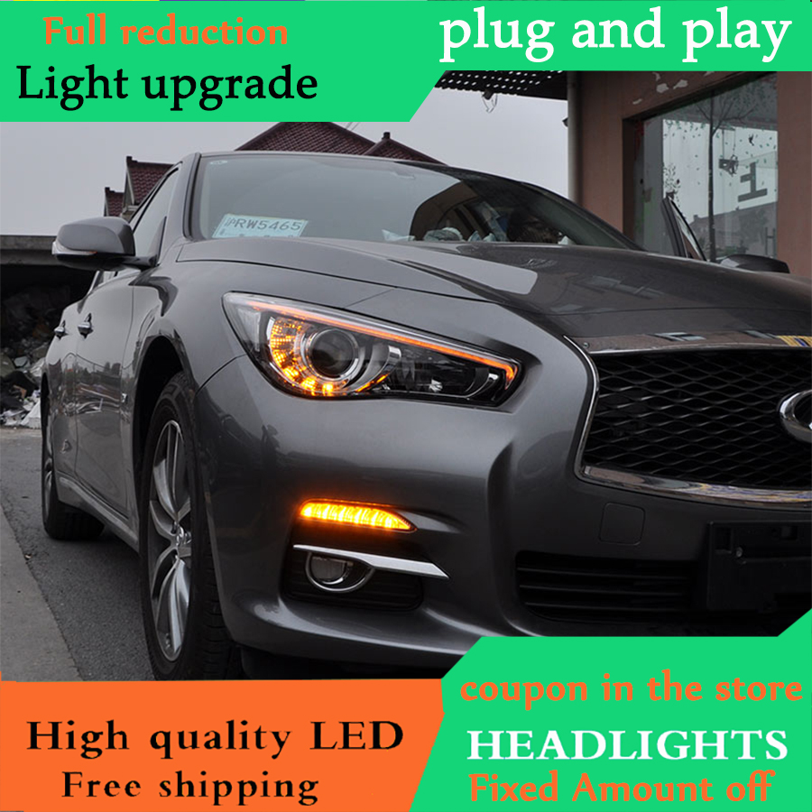 D_YL Car Styling For Infiniti Q50L headlights 2014 2018 For Q50L Full LED head lamp led DRL front Bi Xenon Lens Double Beam-in Car Light Assembly from Automobiles & Motorcycles    3