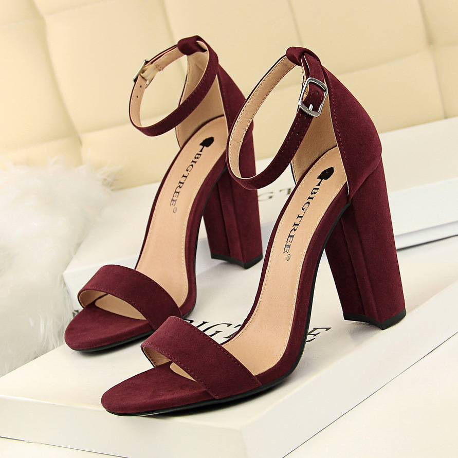 BIGTREE Shoes Women Sandals 2019 Women Shoes Block Heels Women Suede Buckle Party Sandalias Sexy Classic Sandals Ladies Shoes