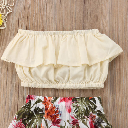 2pcs Toddler Infant Baby Girls Clothes Off Shoulder Ruffle Bob Tube Top Floral Maxi Skirt Kids Summer Clothes Baby Girl 1-7T