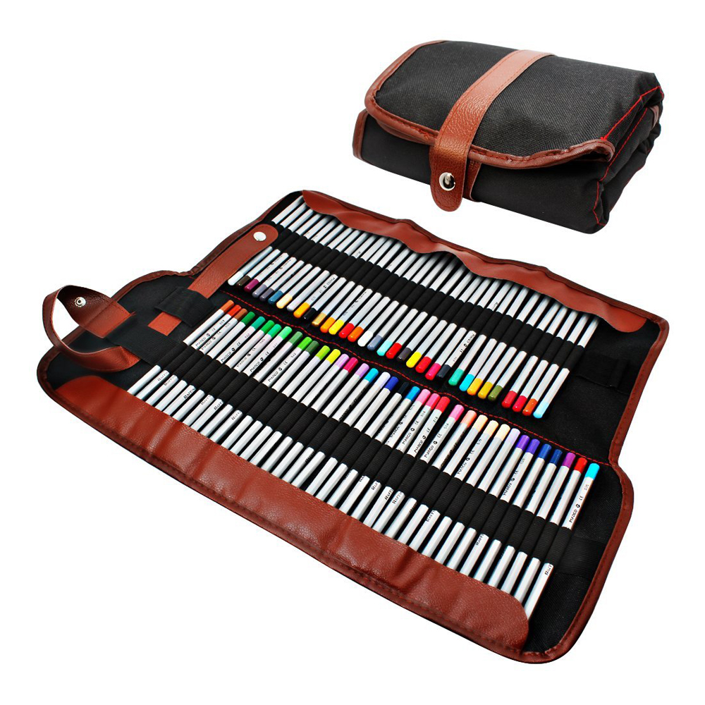 Pencil holder, 72 assorted colored pencils Organizer, Roll up Washable canvas pencil bag for school office art ect. цена