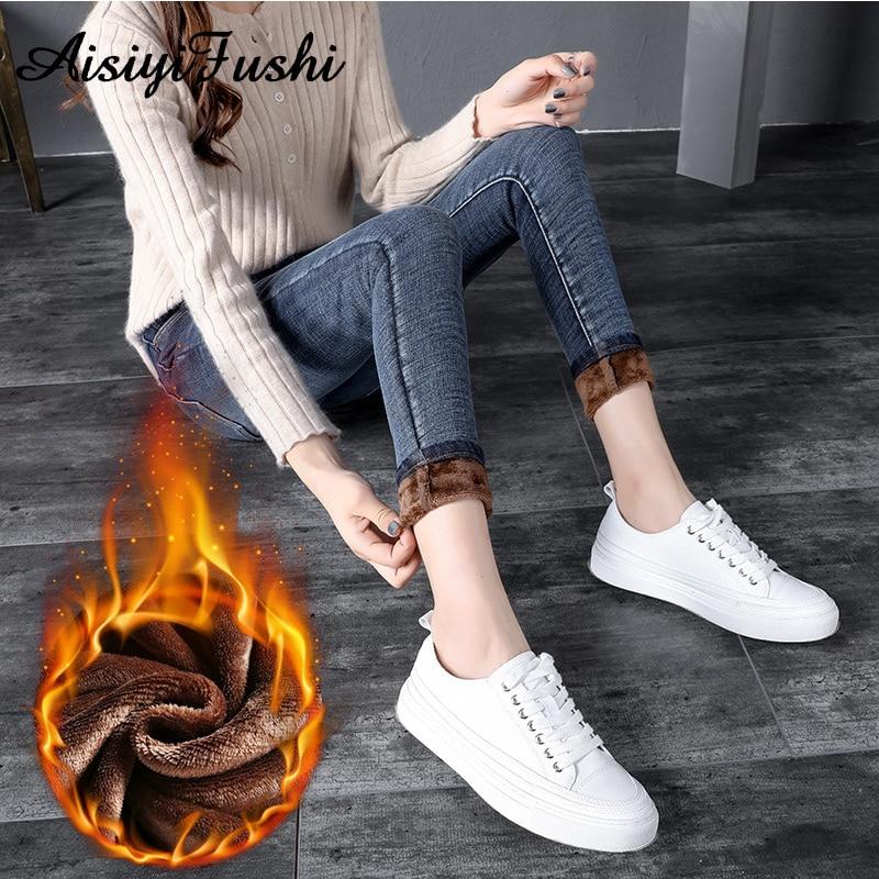 Warm Women's Jeans Female With High Waist Skinny Jeans Slim Woman Warm Denim Pants Winter Blue Jeans For Women Taille Haute
