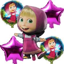 5 pieces Aluminum Foil Balloon mashas & Bear Air Balloon For Baby Birthday Party Decoration Helium Ballon Baby Toys Globos