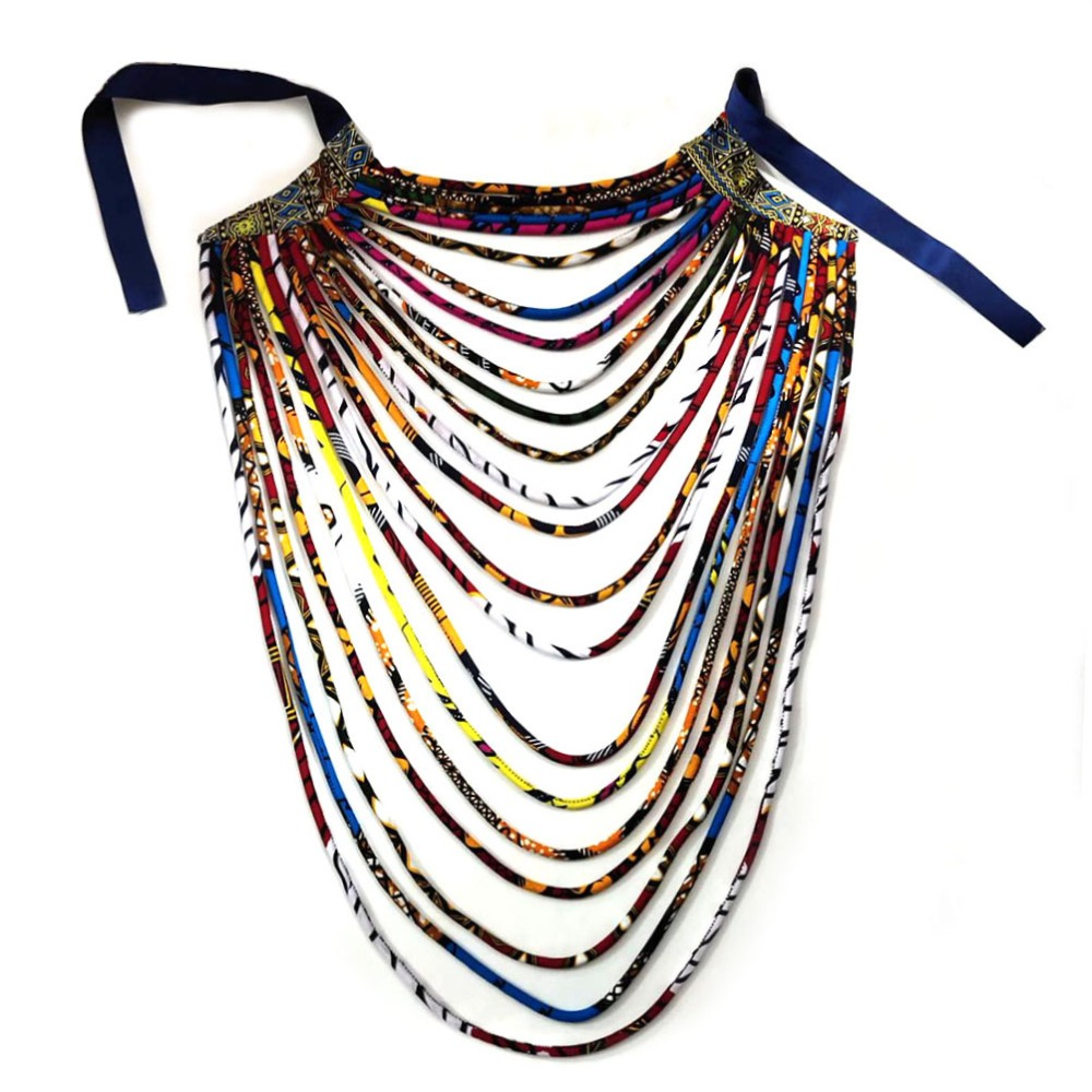 African wax fabric necklace dashiki Ankara necklace colorful rope traditional women jewelry (4)