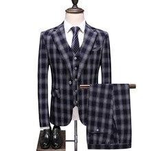 Men luxury dark blue banquet creative plaid pattern tuxedo single-breasted Plus size high-end custom suit three-piece men blazer