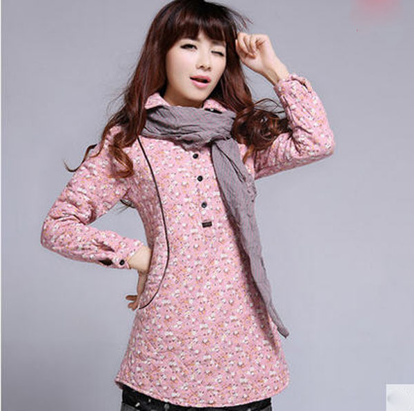 ФОТО Free Shipping Women'S Winter Sub-National Wind Long Cotton Jacket Thin Patchwork Long Sleeves Flower Print Coat Parkas 2Xl S2555