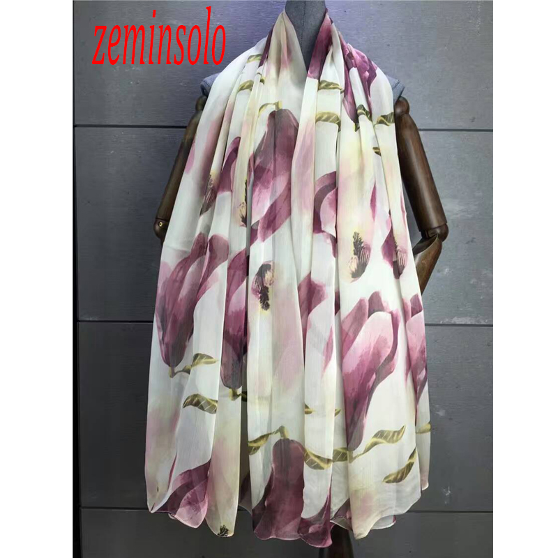 Printed Flower Scarf For Women Wraps Imitation Silk Scarf Shawl Fashion Style Pashmina Bandana 140*180cm Soft All-match Scarves image