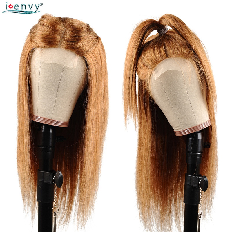 IEnvy Blonde Lace Closure Human Hair Wigs For Black Women Ombre Human Hair Wigs Straight Peruvian Honey Blonde Wigs #30 Non-Remy