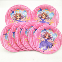 10pcs Sofia Princess Party Supplies Paper Plates Disposable Tableware Birthday Festival Favor Decoration Cake Plate Dishes