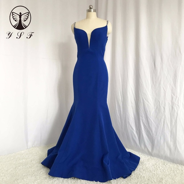Sexy Royal Blue Spaghetti Strap Beaded Stones Crisscoss Back Mermaid Prom  Dresses 2018 06bfbd132