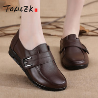 Autumn new leather mom shoes deep water drill flat bottom anti slip old and middle aged shoes