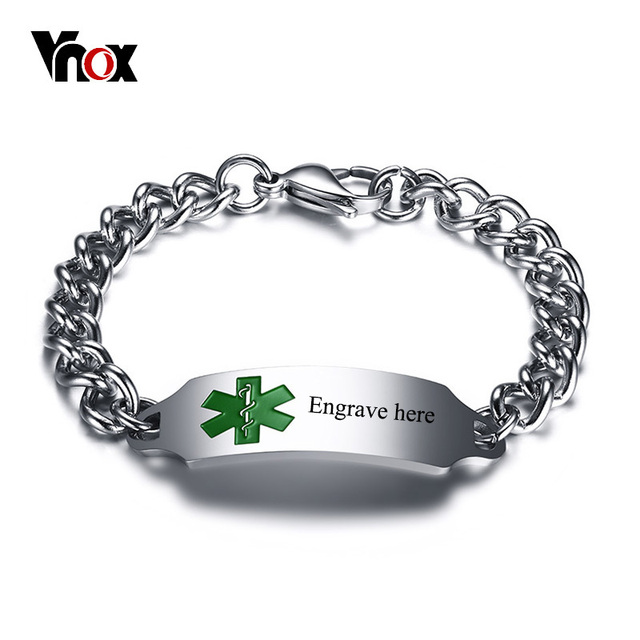 Vnox Medical Alert Emergency Id Bracelets For Men Stainless Steel Free Customize Engraving Male Identification Jewelry