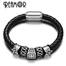 REAMOR Christmas Gift Chrome Style Hearts 316L Stainless Steel 8mm Cross Beads Leather Bracelets Luxury Design with Magnet Clasp