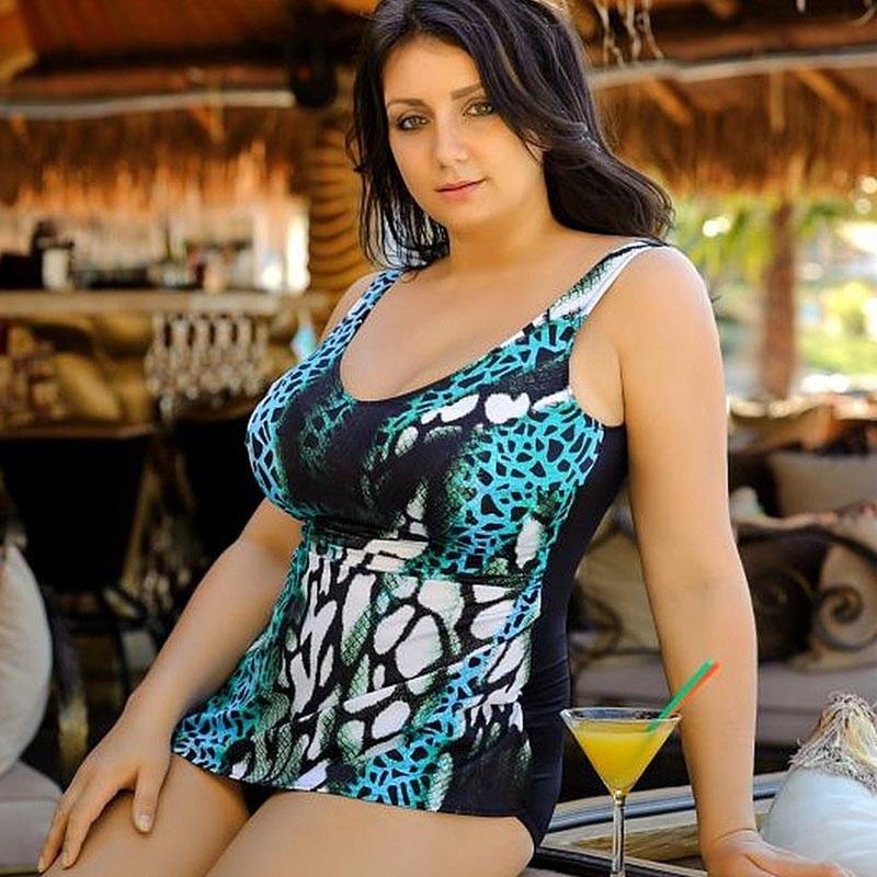xxxxl plus size women swimwear one piece swimsuit blue print trikini female monokini bathing suit costumi da bagno donna