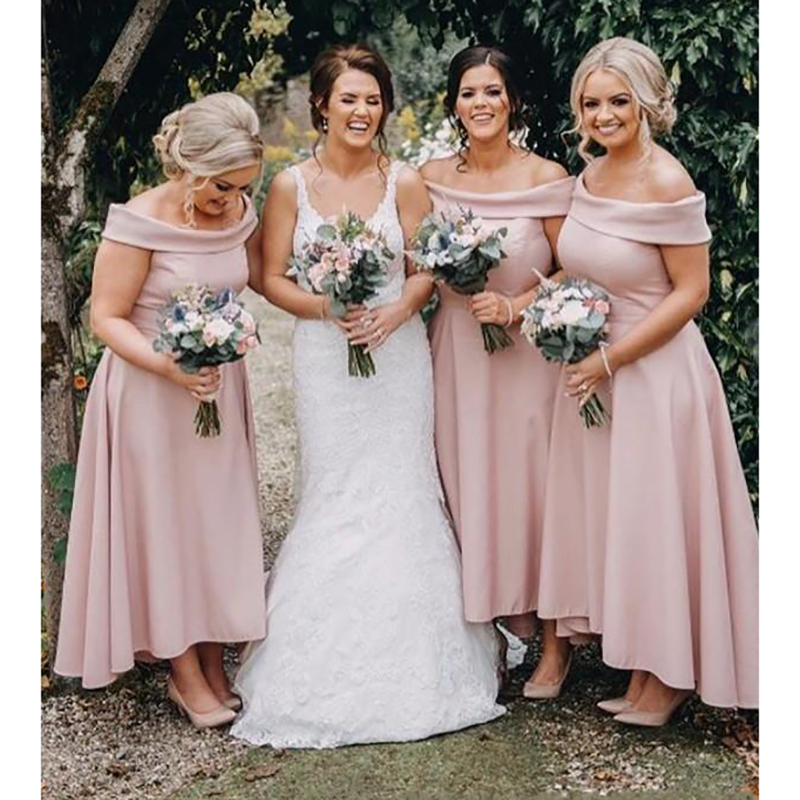 2019 Blush Pink A-Line   Bridesmaid     Dresses   Off Shoulder Satin High Low Ankle Length African Wedding Guest Maid of Honor Gowns