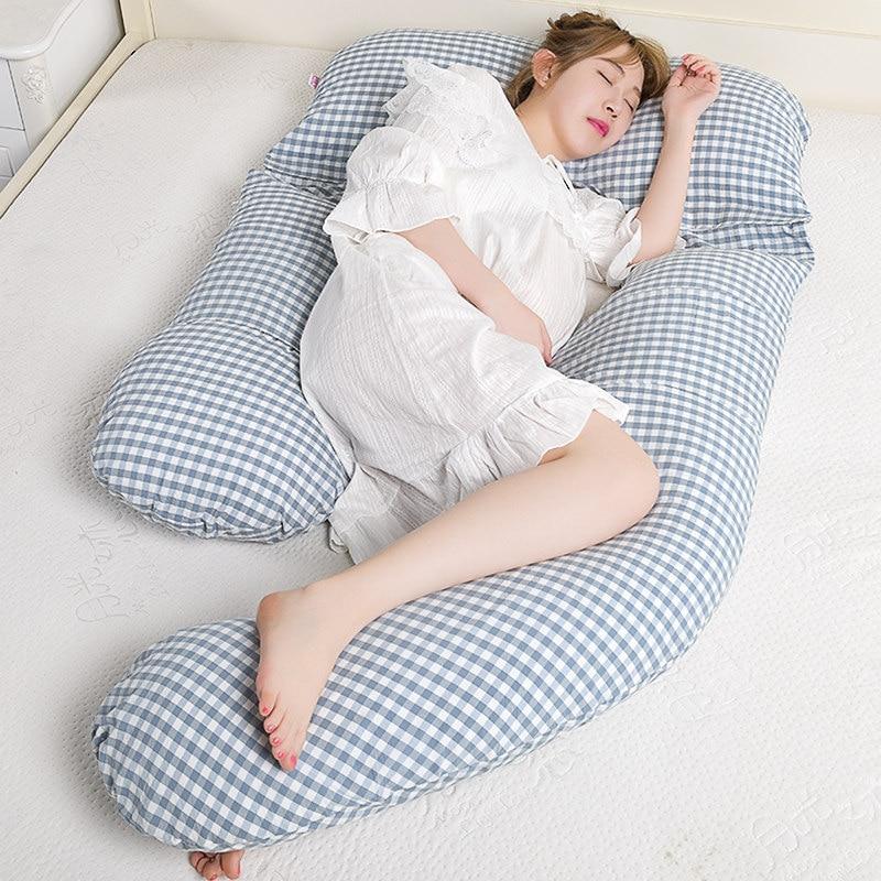 Super Soft Cotton Fabric Pregnancy Pillow Simple Style U Shape Maternal Body Pillow High Quality Side Sleepers Waist Pillow