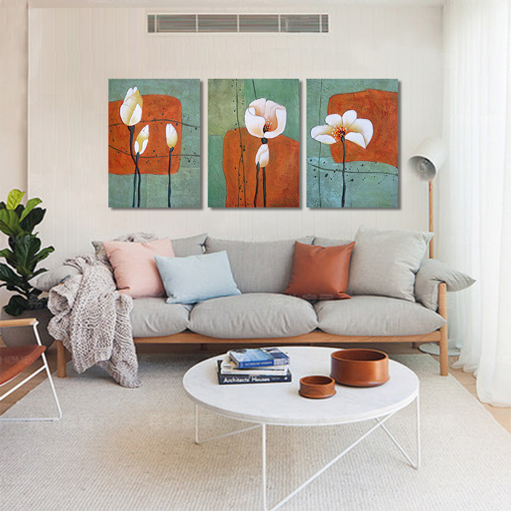 Unframed HD Canvas Prints Creative Art Painting Abstract Lotus Decorative Dog And Rabbit Printed For Living Room Mural