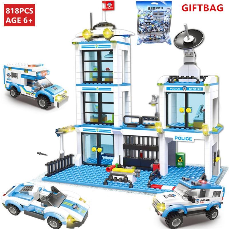 818Pcs Conjuntos de Blocos de Construção Da Estação Da Polícia Da Cidade de Helicóptero Carro Navio SWAT LegoINGLs Bricks DIY Brinquedos para As Crianças Presentes de Natal