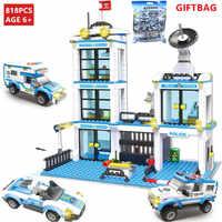 818Pcs City Police Station Building Blocks Sets  Helicopter Ship Car SWAT LegoINGLs DIY Bricks Toys for Children Christmas Gifts