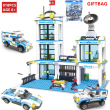 818Pcs City Police Station Building Blocks Sets  Helicopter Ship Car SWAT LegoINGLs DIY Bricks Toys for Children Christmas Gifts