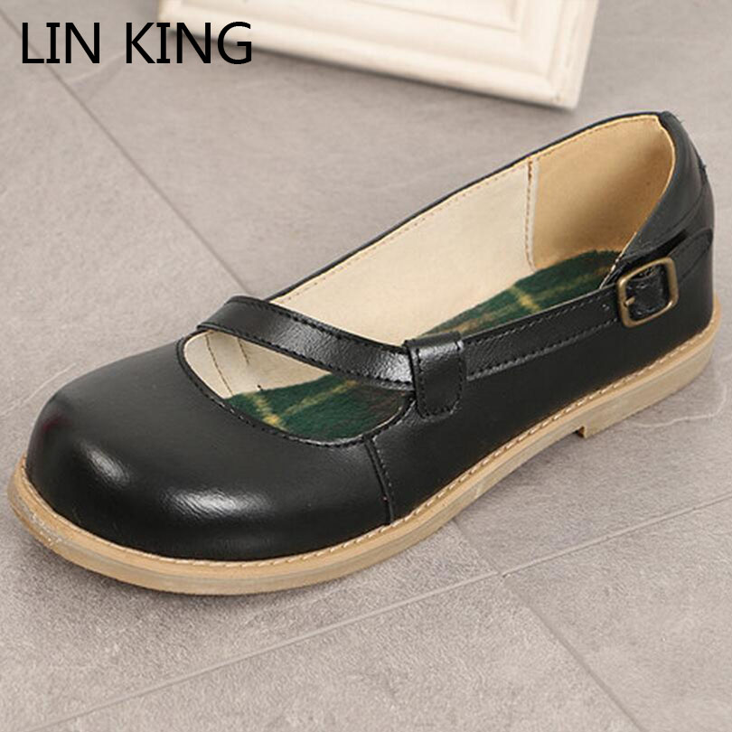 LIN KING New Casual Buckle Women Flats Shoes Sweet Solid Mary Janes Ladies Lolita Shoes Comfortable Round Toe Pu Leather Shoes lin king fashion pu leather women flats shoes round toe loafers comfortable slip on casual shoes solid breathable girl lazy shoe